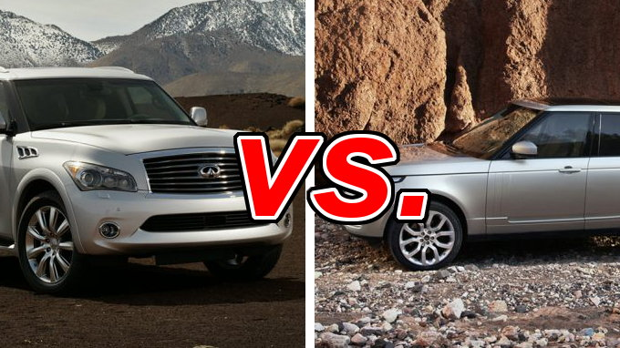 infiniti qx80 vs land rover range rover carsdirect. Black Bedroom Furniture Sets. Home Design Ideas