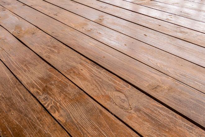 A wood deck.