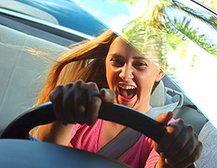 Girl driving wildly