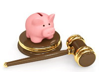 Piggy Bank and Gold Gavel