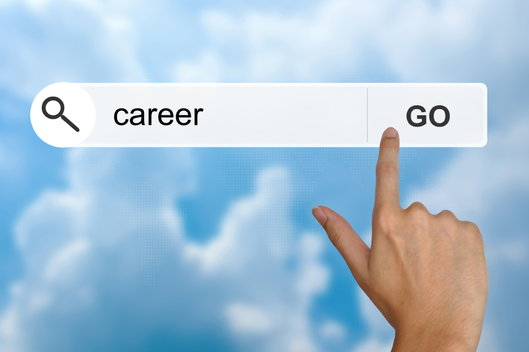 hand on go button for career search