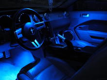 Blue LED map lights, LEDGLOW Blue Interior kit and lots of Billet.  The LEDGLOW lights in the footwells is new.