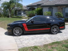 "Side has my custom designed 1970 style ""Boss 302"" stripes and black 5.0 badge"