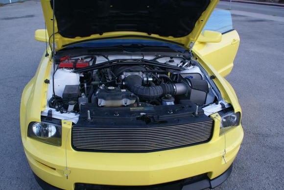 Yellow Mustang engine