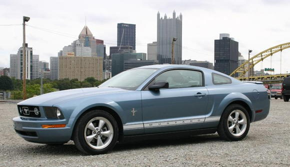 Mustang with Pittsburgh in the background