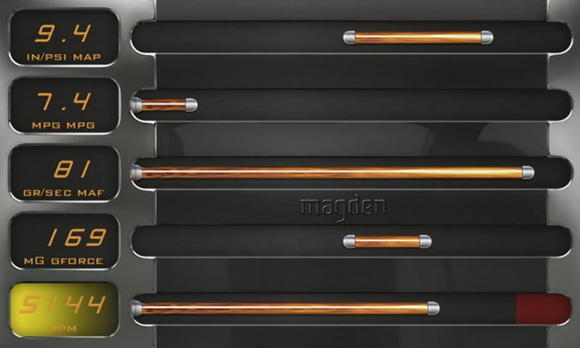 M.1b Performance Computer, Datalab layout, chrome skin, orange indicators and orange text.