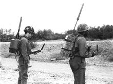 """Posted 3/28/2016  Two Soldiers test early models of GPS """"manpack"""" receivers in 1978. (U.S. Air Force photo)"""