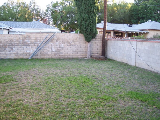 Here is the yard in Dec 2004 when we first moved in... a great blank slate- almost too many possibililties, but not a whole lot of room to do it in (land is $$$ here, so this was the max we could afford).