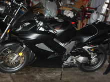 04 VFR800ABS - with a Frankenstein project I'm building behind it.