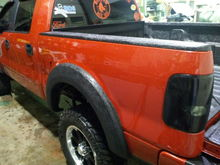 Herculiner on the Fender Flares, top bed rails, and entire bed of the truck