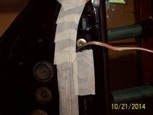 wire tied into door speaker