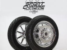 9 Spoke chrome wheels with discs and tires