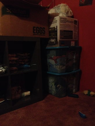 The box on top of the shelf, plus the three in the corner are all infant clothing from my other 3 boys. I have to sort and size them because I'm not sure what we have is usable yet.