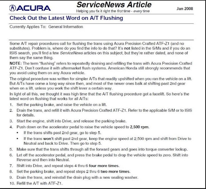 Acura TL 2004 To 2008 Transmission Diagnostic Guide