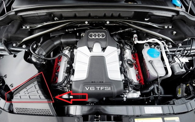Remove the part inside the red triangle in order to reach the headlight bulbs beneath