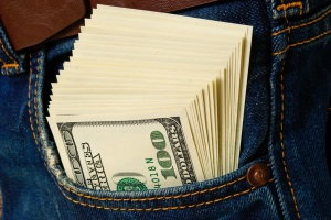 down payment, cash in pocket