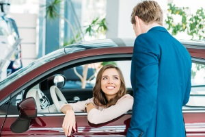 talking with car salesman, car shopping