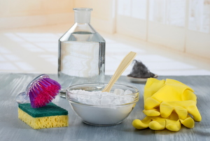 A grouping of cleaning products on a counter.