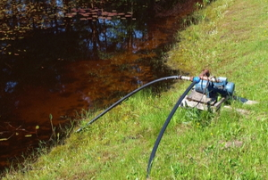 water pump with hose in a pond