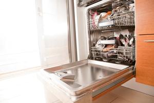 The door to a full dishwasher hangs open.
