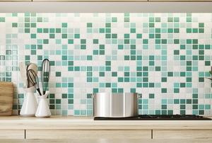 a bright green tile kitchen backsplash