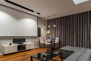 media room with large projector screen