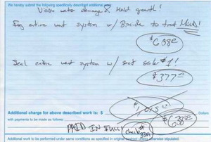 A duct cleaning invoice