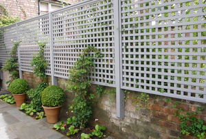 White lattice fence