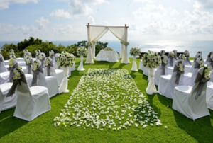 a wedding setting by the ocean