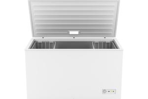 open, white chest freezer