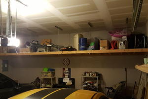 large storage shelf in a garage