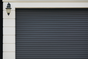 A gray garage door.