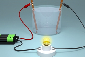 salt water cup connected to batteries and a light