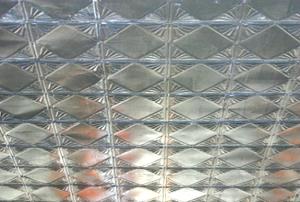 A vintage tin ceiling.