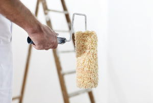 A clean paint roller with a ladder in the background.