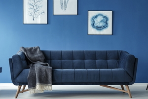 contemporary living room with 2020 classic blue design
