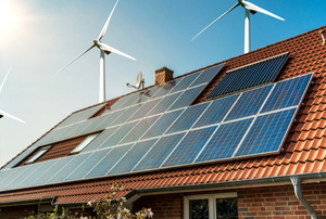 renewable energy house with solar panels and wind turbines