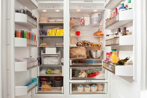 organized refrigerator and freezer appliance
