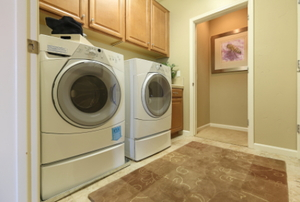 A front loading washer and dryer.