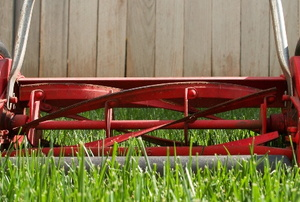 old fashioned red hand roller lawn mower on grass