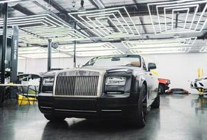 black car in a workshop
