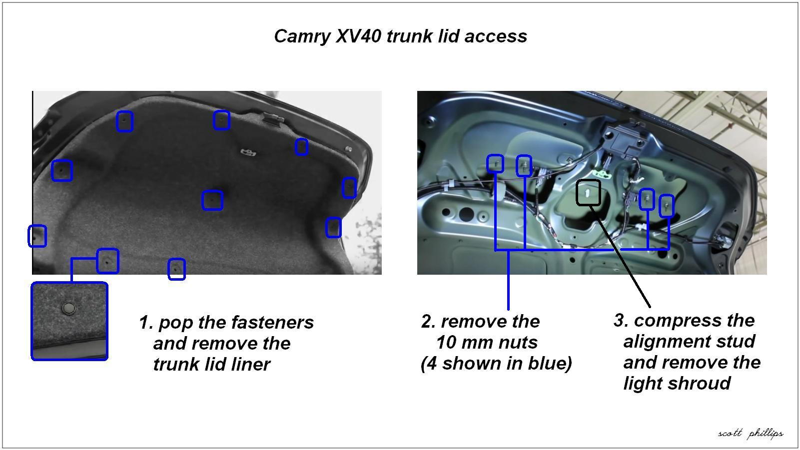 2 CamryXV40 Trunk LidAccess 86551 toyota camry 2007 2011 how to install rear view backup camera 2007 Toyota Avalon Wiring-Diagram at bayanpartner.co