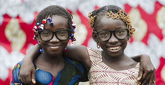 Image of young girls wearing glasses.