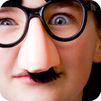 image of kid with funny glasses.