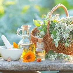 herb basket with calendula