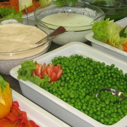 Traditional Romanian vegetables in serving dishes