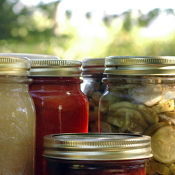 Sealed glass jars of fruit and vegetable preserves