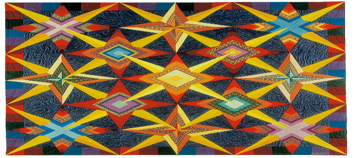 bright quilt with primary colors