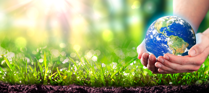 Pair of hands holding a stylized globe of Earth above soil and grass