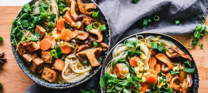 noodle bowls with vegetables